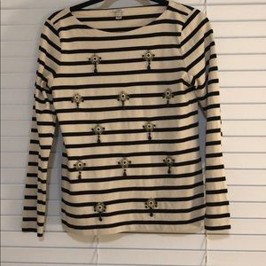 J crew striped top with pretty bead details